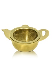 Tea Strainer Teapot w Tray Gold Platinized