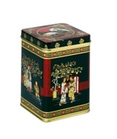 Tea Caddy Black Jap w Hinged Lid 100g