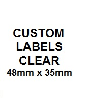 Custom Labels Clear w Black Text 48mm x 35mm